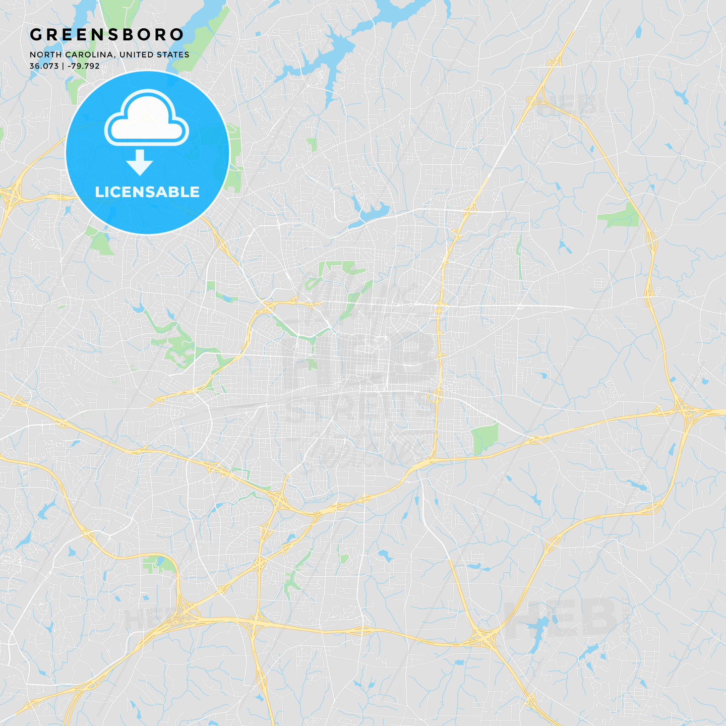 photograph relating to Printable Map of North Carolina named Printable road map of Greensboro, North Carolina