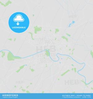 Printable street map of Hereford, England - HEBSTREITS