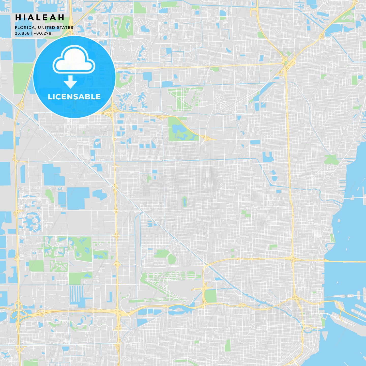 Printable street map of Hialeah, Florida