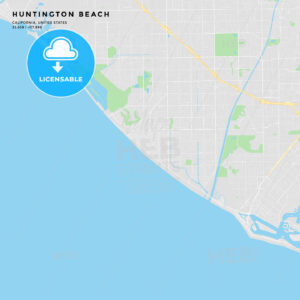Printable street map of Huntington Beach, California - HEBSTREITS