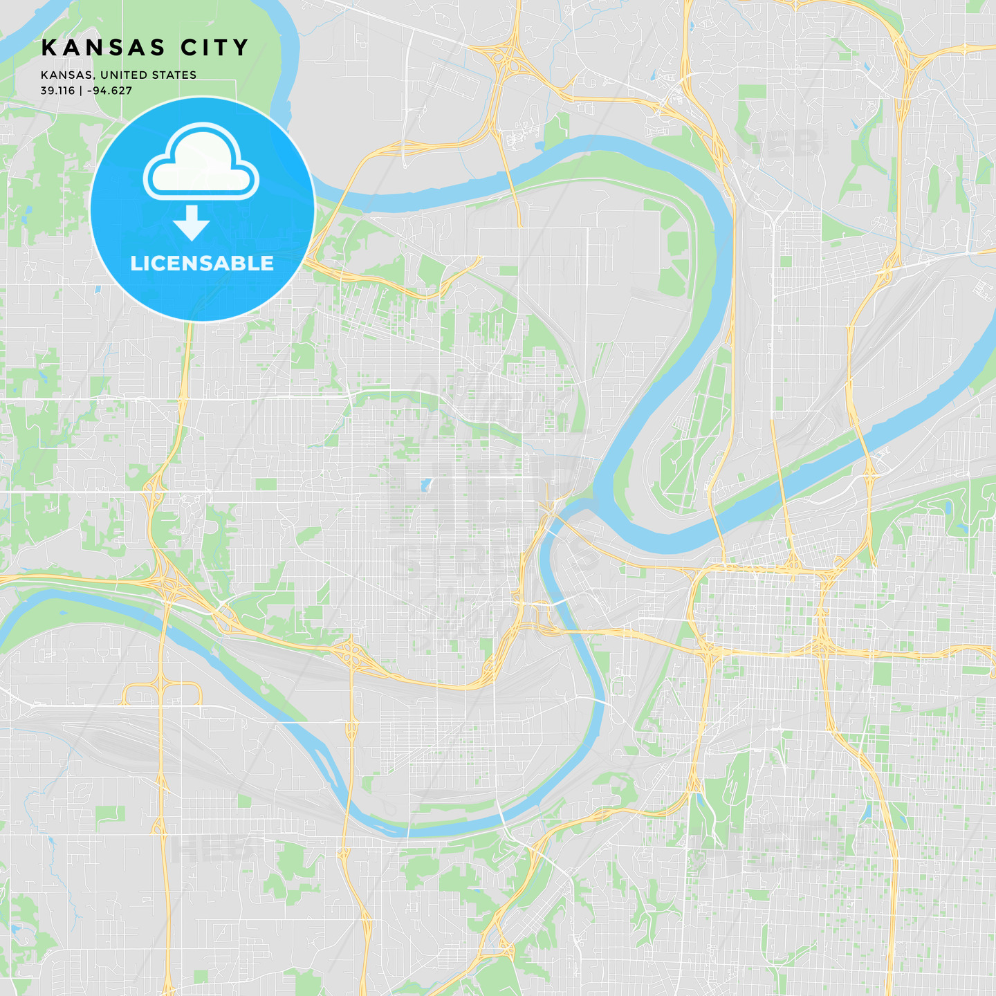 Printable street map of Kansas City, Kansas | HEBSTREITS Sketches