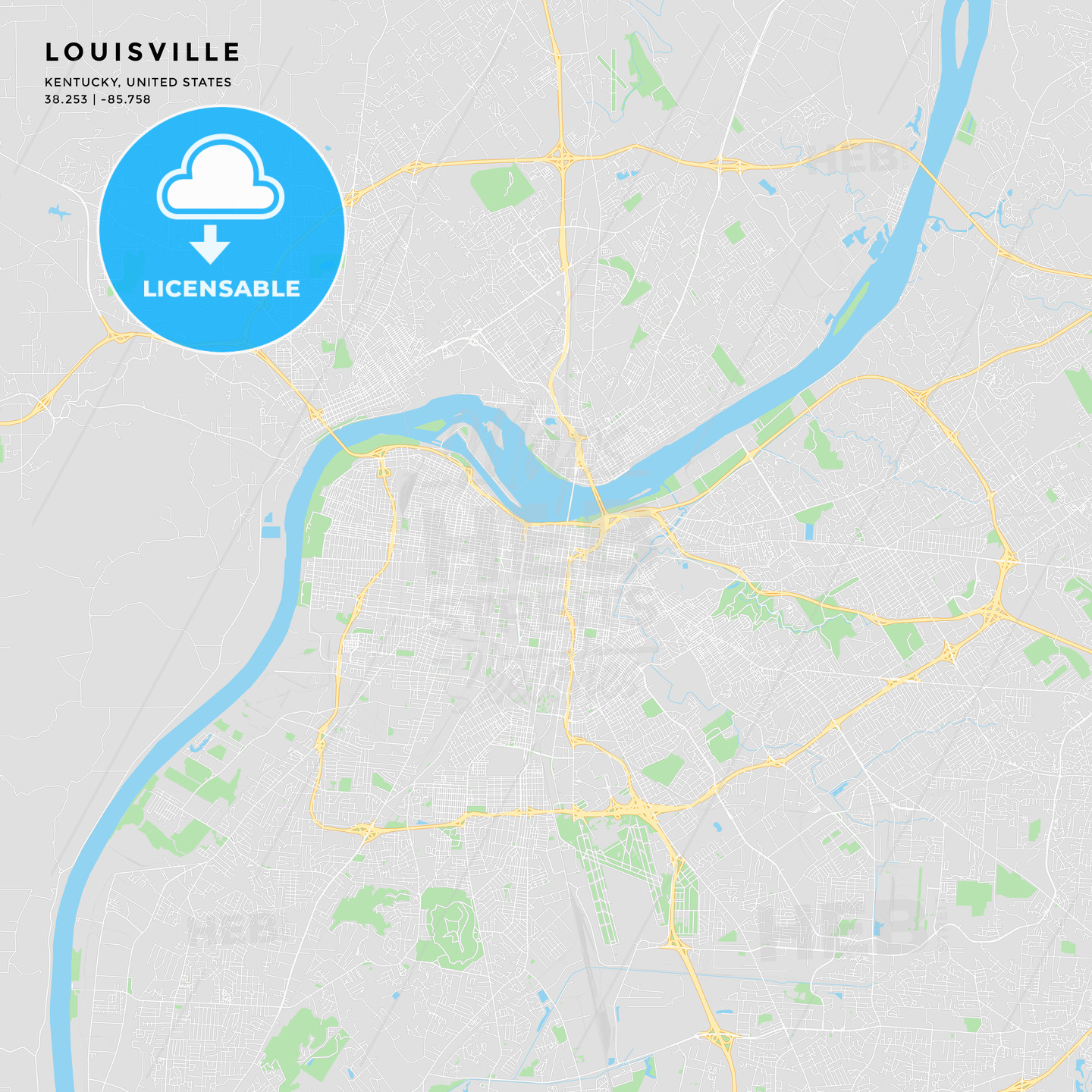 photograph about Printable Map of Kentucky called Printable road map of Louisville, Kentucky