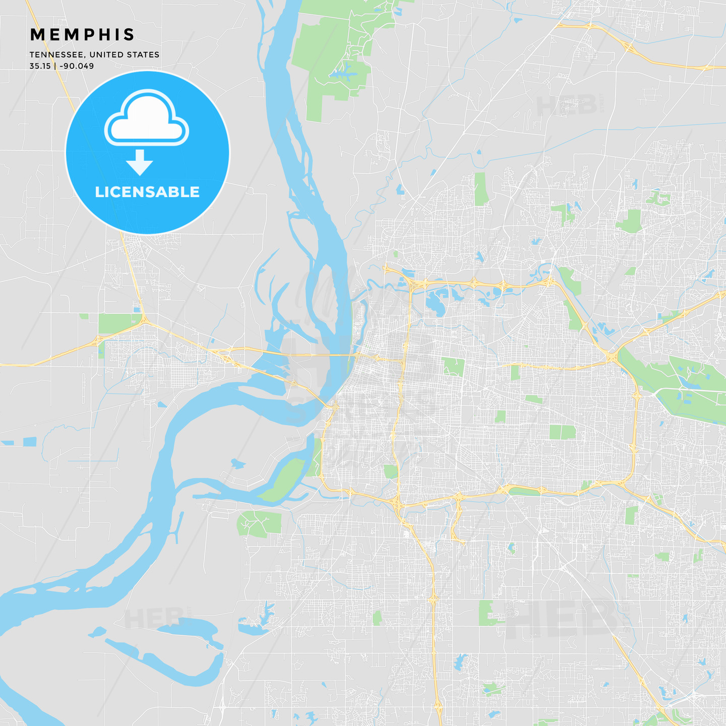 Printable street map of Memphis, Tennessee