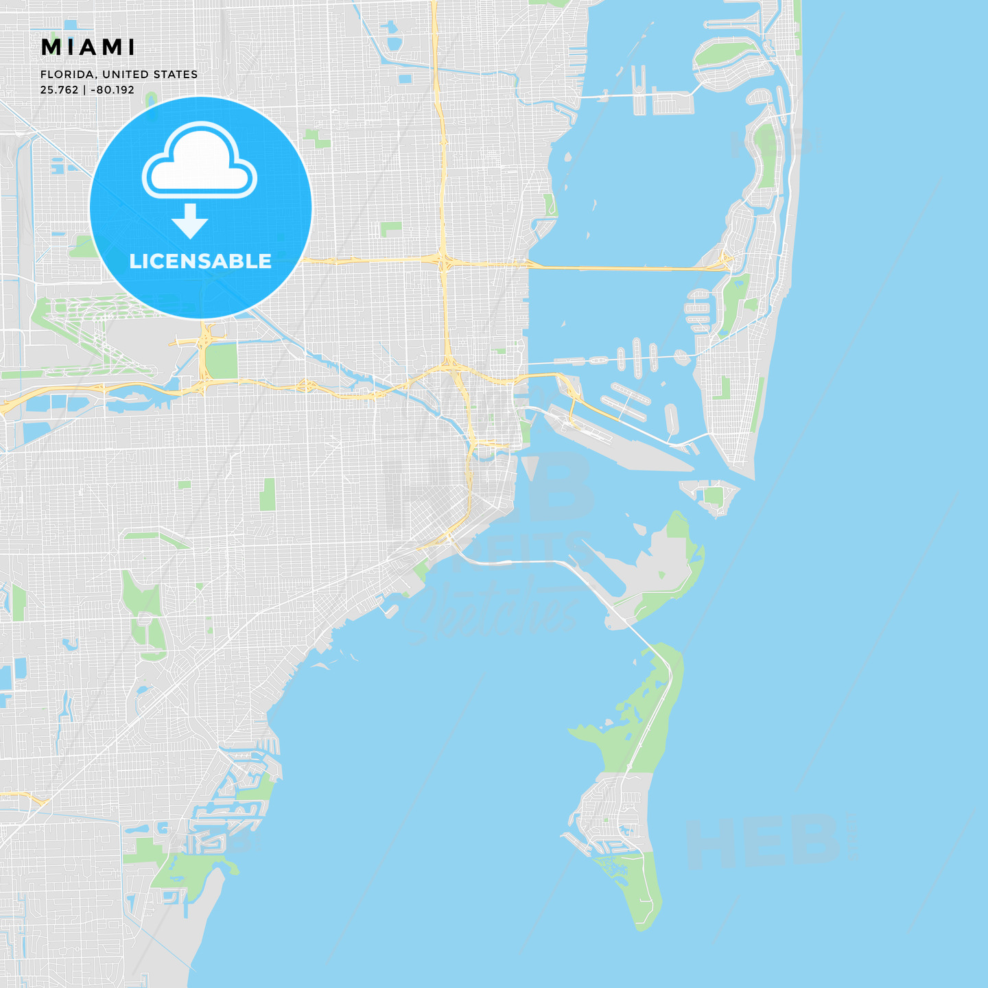 image about Printable Florida Map titled Printable highway map of Miami, Florida