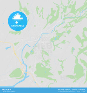 Printable street map of Neath, Wales - HEBSTREITS