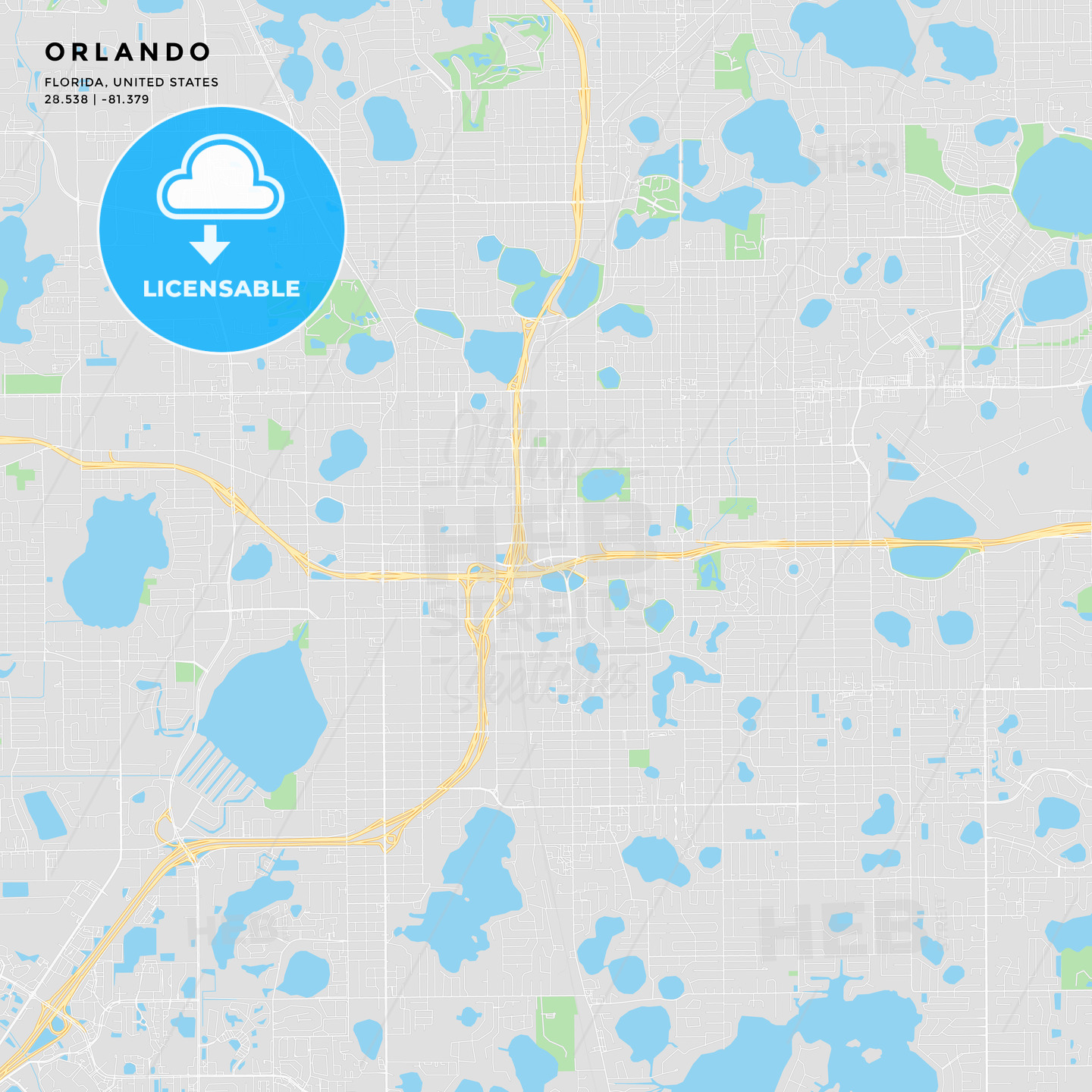 Printable street map of Orlando, Florida