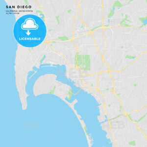 Printable street map of San Diego, California - HEBSTREITS