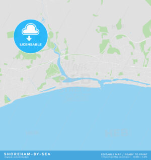 Printable street map of Shoreham-by-Sea, England - HEBSTREITS