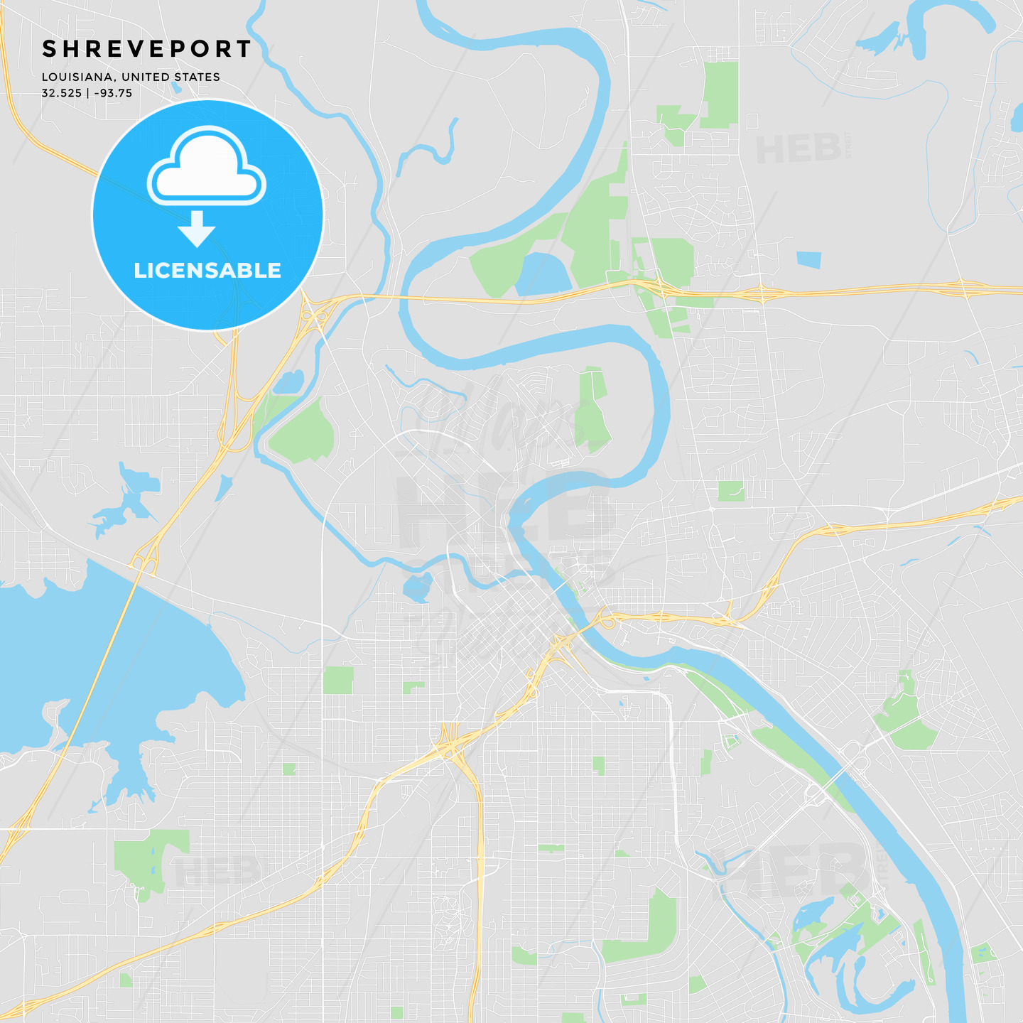 image relating to Printable Map of Louisiana named Printable road map of Shreveport, Louisiana