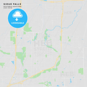 Printable street map of Sioux Falls, South Dakota - HEBSTREITS