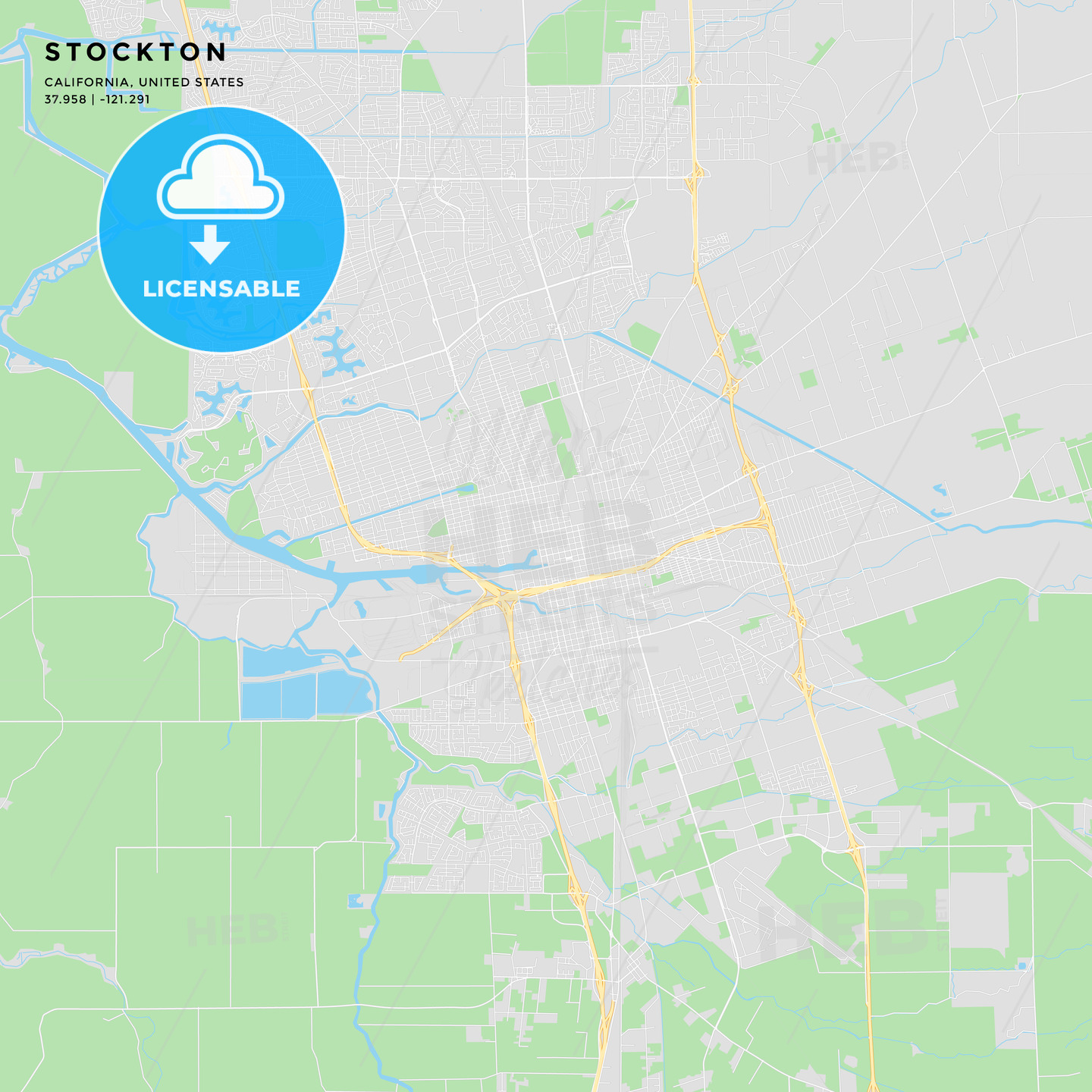Printable street map of Stockton, California
