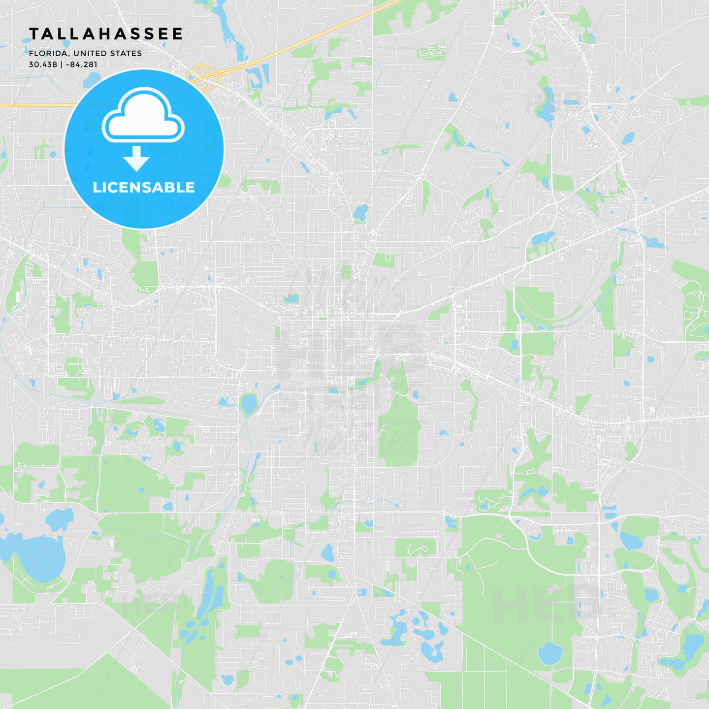 Printable street map of Tallahassee, Florida