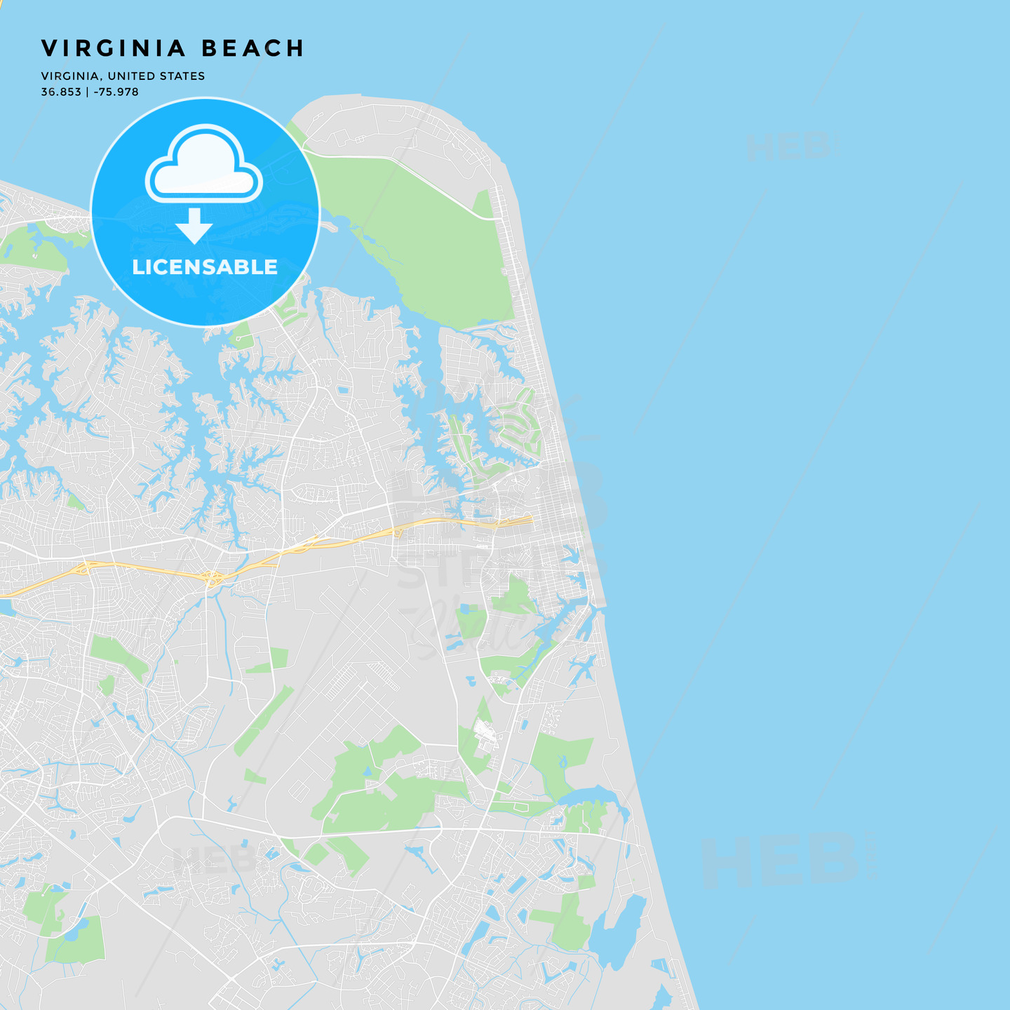 image about Printable Maps of Virginia identified as Printable road map of Virginia Seashore, Virginia