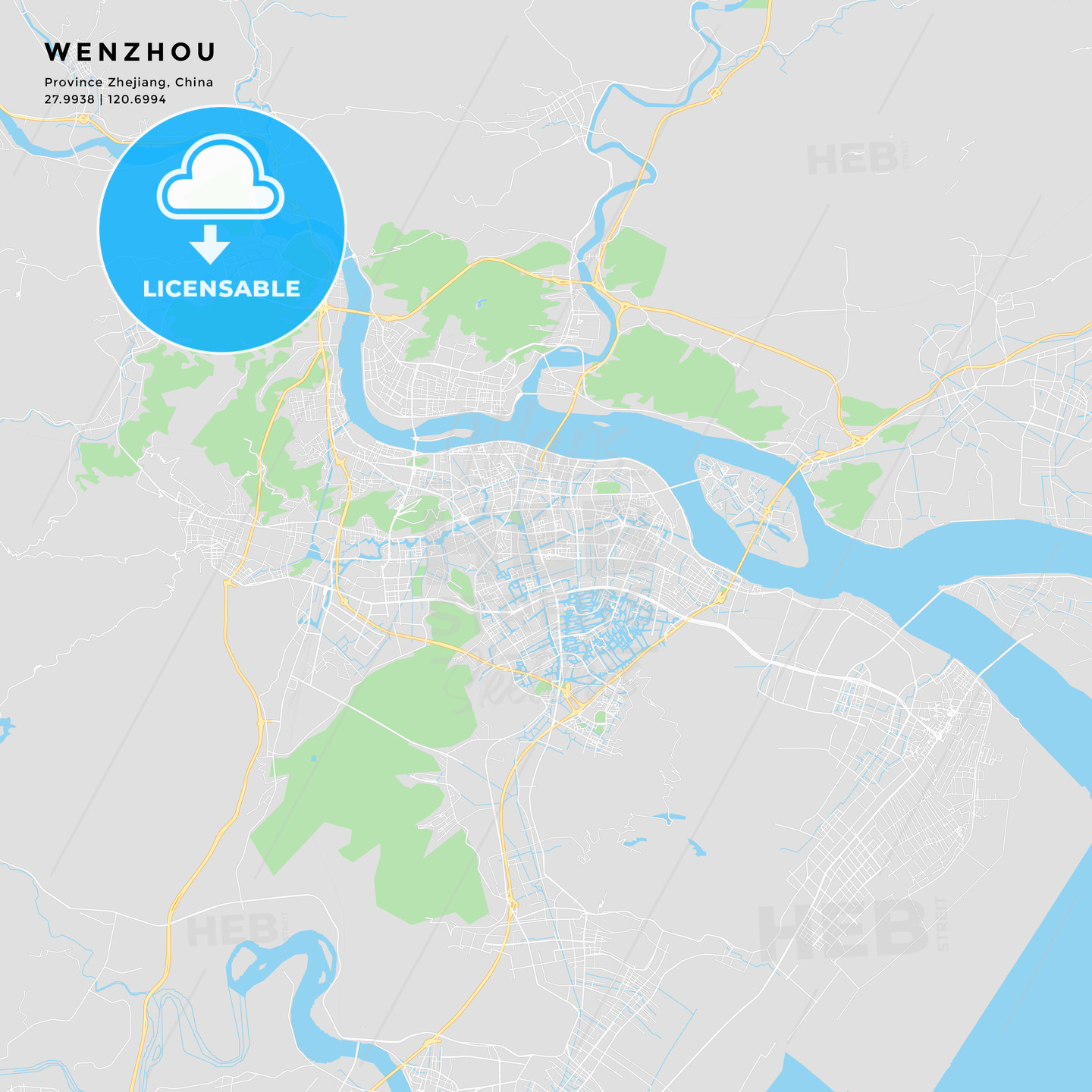 Printable Street Map Of Wenzhou China Hebstreits