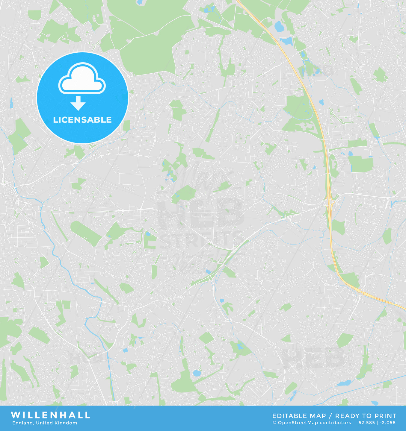 photograph about Printable Maps of England named Printable highway map of Willenhall, England