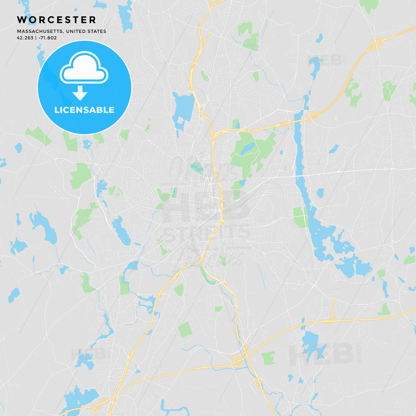 picture relating to Printable Map of Massachusetts named Printable highway map of Worcester, Machusetts