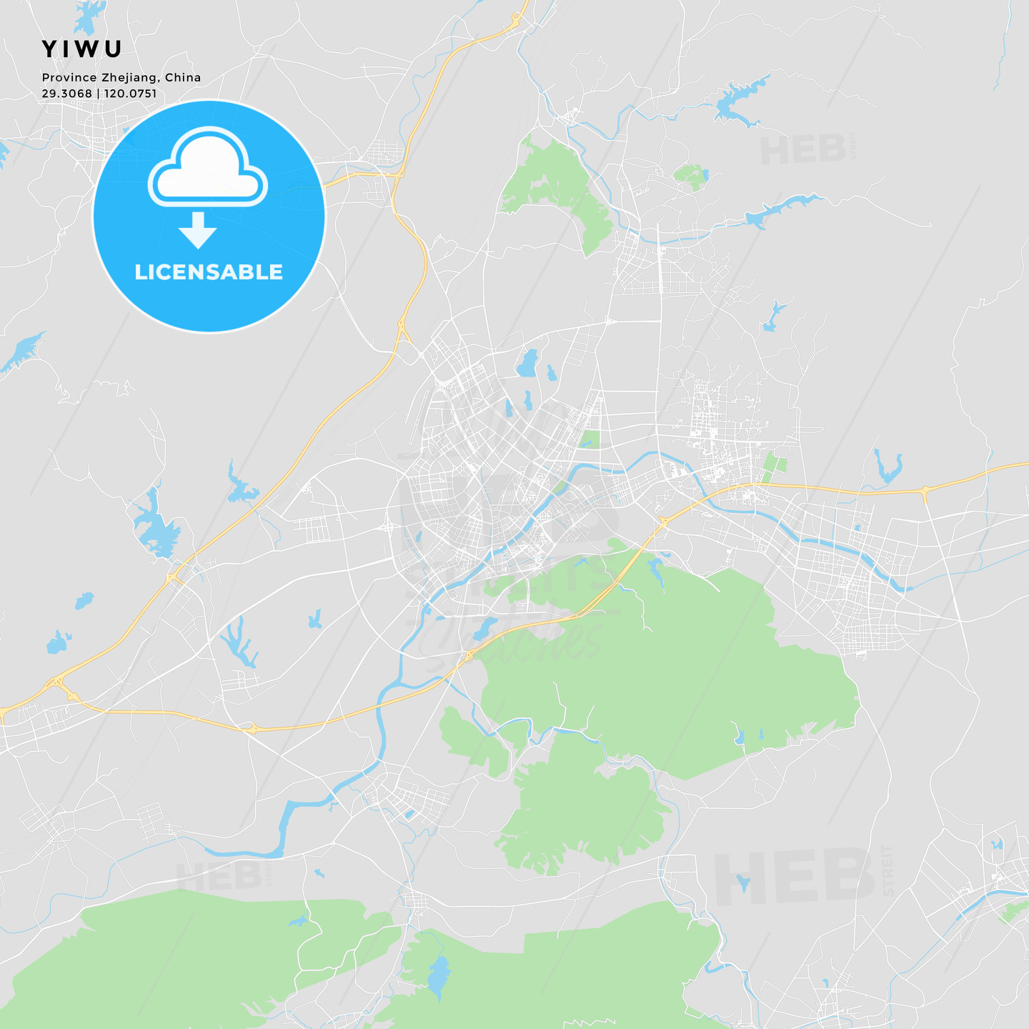Printable Street Map Of Yiwu China Hebstreits