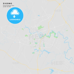 Printable street map of Zigong, China - HEBSTREITS
