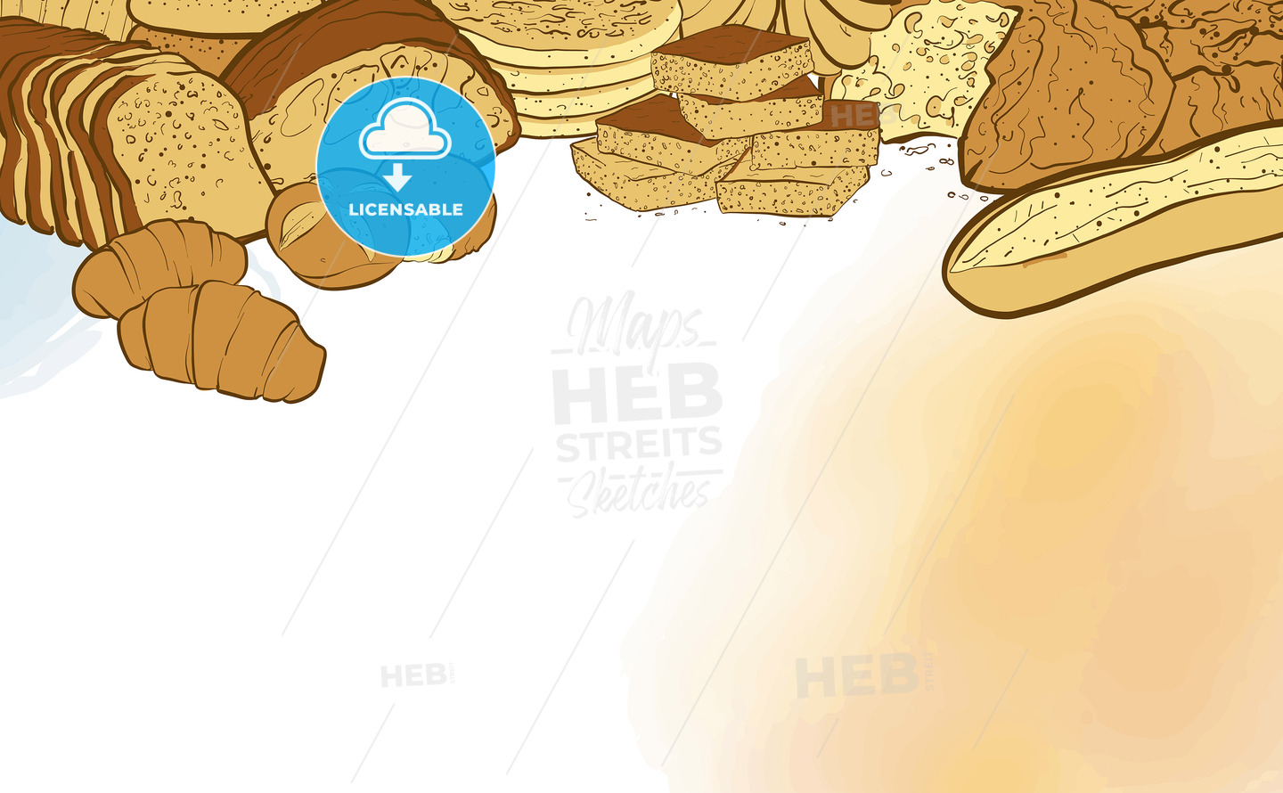 bakery breads banner with watercolor background