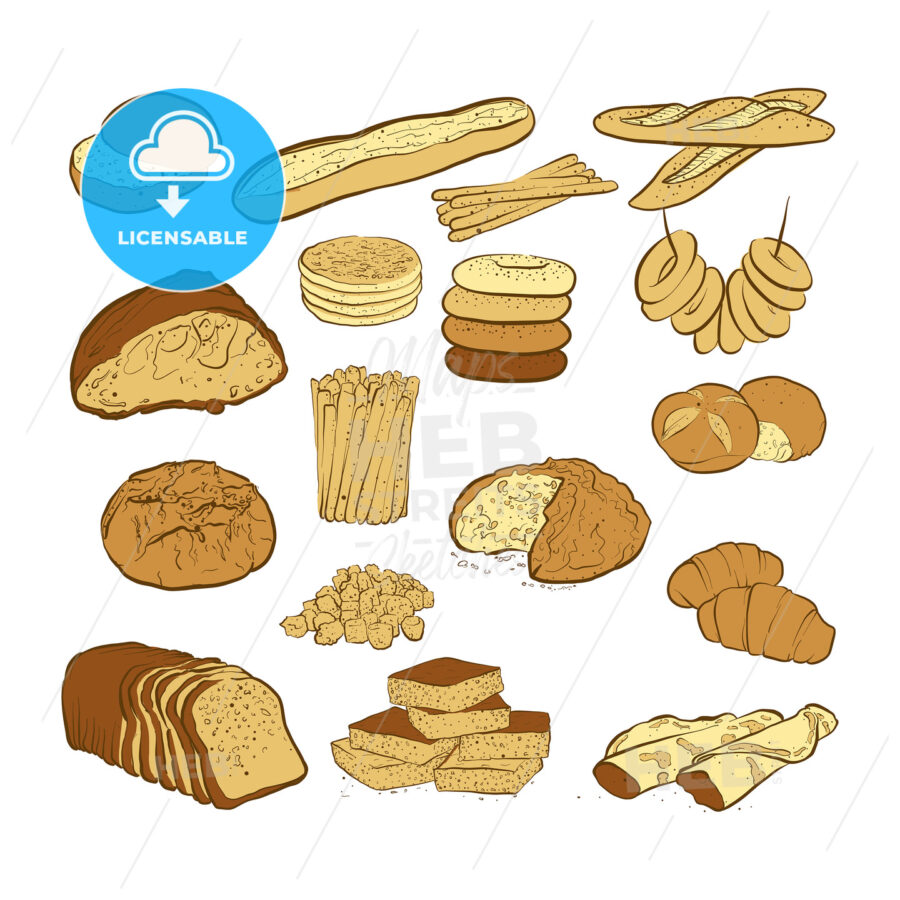 set of various colored breads - HEBSTREITS