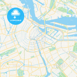 Amsterdam, Netherlands Vector Map – Classic Colors