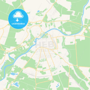 Bernburg (Saale), Germany Vector Map – Classic Colors - HEBSTREITS Sketches