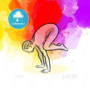 Black Crow Yoga Pose - HEBSTREITS Sketches
