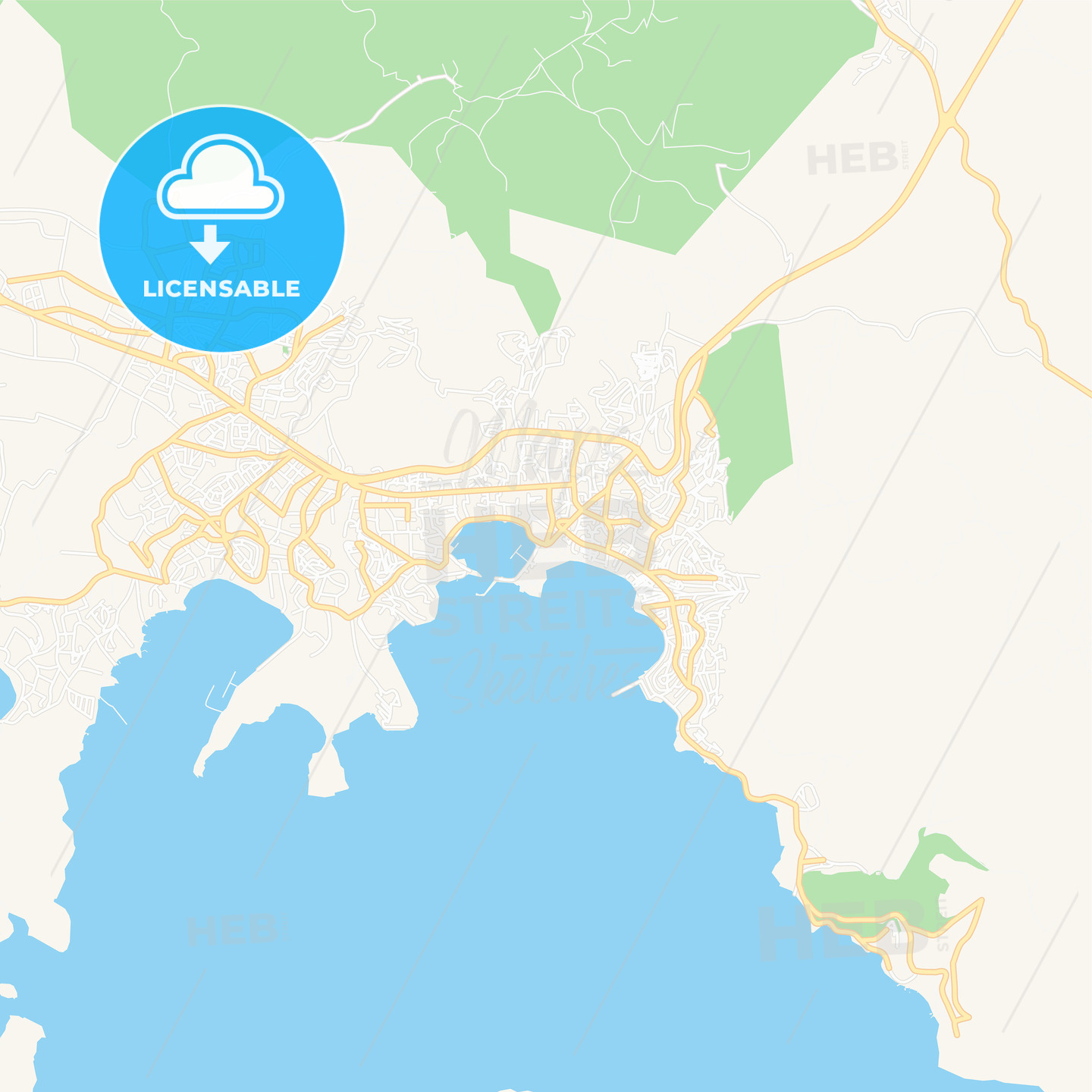 Bodrum, Turkey Vector Map - Classic Colors | HEBSTREITS Sketches