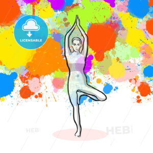 Creative tree Yoga Pose with colorful background - HEBSTREITS Sketches