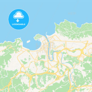 Donostia / San Sebastian, Spain Vector Map – Classic Colors - HEBSTREITS Sketches
