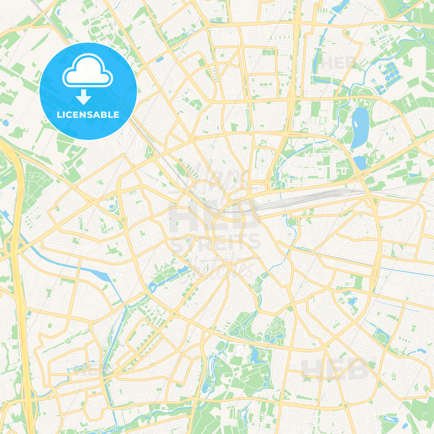 Eindhoven, Netherlands Vector Map - Classic Colors