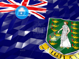 Flag of British Virgin Islands 3D Wallpaper Illustration - HEBSTREITS Sketches