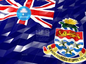 Flag of Cayman Islands 3D Wallpaper Illustration - HEBSTREITS Sketches