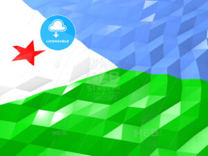 Flag of Djibouti 3D Wallpaper Illustration - HEBSTREITS Sketches