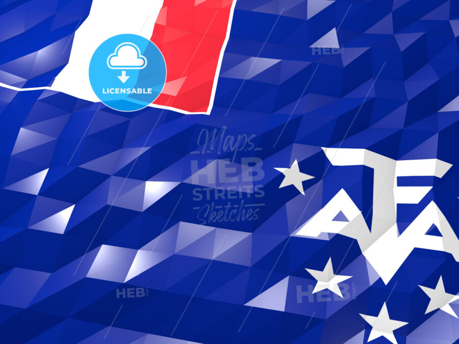 Flag of French Southern Territories 3D Wallpaper Illustration - HEBSTREITS Sketches