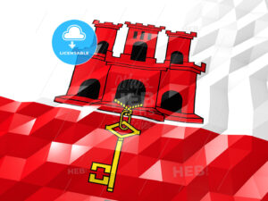 Flag of Gibraltar 3D Wallpaper Illustration - HEBSTREITS Sketches