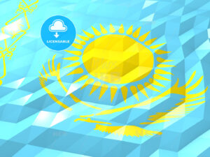 Flag of Kazakhstan 3D Wallpaper Illustration - HEBSTREITS Sketches