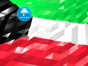 Flag of Kuwait 3D Wallpaper Illustration - HEBSTREITS Sketches