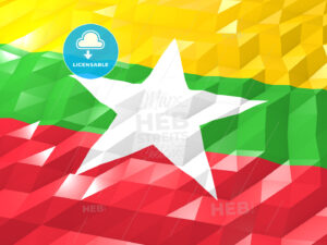 Flag of Myanmar 3D Wallpaper Illustration - HEBSTREITS Sketches