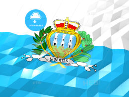 Flag of San Marino 3D Wallpaper Illustration