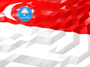 Flag of Singapore 3D Wallpaper Illustration - HEBSTREITS Sketches