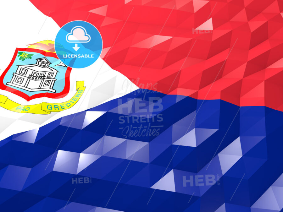 Flag of Sint Maarten (Dutch part) 3D Wallpaper Illustration - HEBSTREITS Sketches