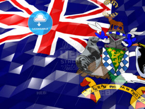 Flag of South Georgia and the South Sandwich Islands 3D Wallpape - HEBSTREITS Sketches