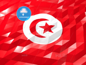 Flag of Tunisia 3D Wallpaper Illustration - HEBSTREITS Sketches