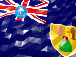 Flag of Turks and Caicos Islands 3D Wallpaper Illustration - HEBSTREITS Sketches