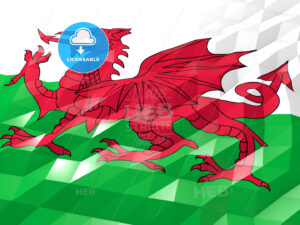 Flag of Wales 3D Wallpaper Illustration - HEBSTREITS Sketches