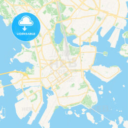 Helsinki, Finland Vector Map – Classic Colors