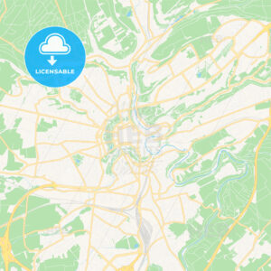 Luxembourg City, Luxembourg Vector Map – Classic Colors - HEBSTREITS Sketches