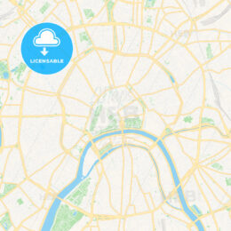 Moscow, Russia Vector Map – Classic Colors