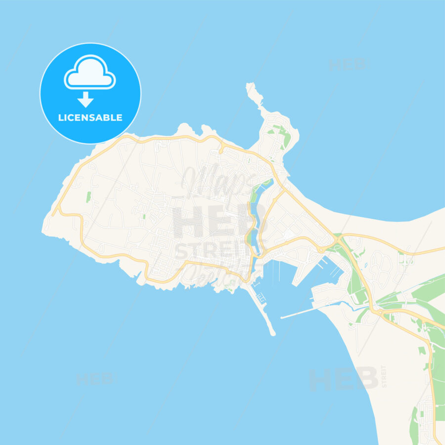 Peniche, Portugal Vector Map – Classic Colors - HEBSTREITS Sketches